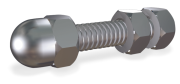 Stainless steel screw with nut and counternut with metric thread