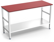 Centre table with red polyethylene worktop and shelf