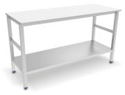 Centre table with white polyethylene worktop and shelf