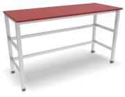 Centre table with red polyethylene worktop