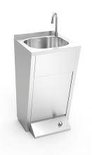 Pedestal hot and cold-water washbasin with one push-buttom timer
