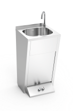Pedestal-operated hot and cold-water washbasins with double push-buttom timer