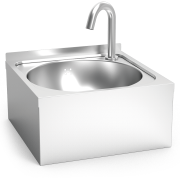 Electronically-operated hot and cold water wall mounted washbasins