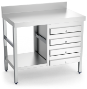 Stainless steel wall-side table with 4 drawers