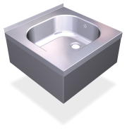 Stainless steel wall mounted sink with skirt, 1 tank.
