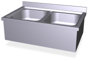 Stainless steel wall mounted sink with skirt and 2 tanks