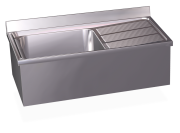 Stainless steel wall mounted sink with skirt, 1 tank and right drain board