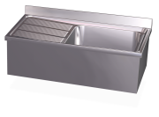 Stainless steel wall mounted sink with skirt, 1 tank and left drain board