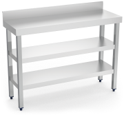 Stainless steel wall-side table with 2 shelves