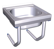 Stainless steel wall mounted sink with brackets, 1 tank.