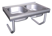 Stainless steel wall mounted sink with brackets and 2 tanks