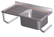 Stainless steel wall mounted sink with brackets, 1 tank and left drain board