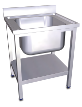 Stainless steel standing sink with shelf 1 tank