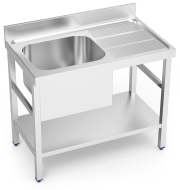 Stainless steel standing sink with shelf 1 tank and right drain board