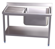 Stainless steel standing sink with shelf 1 tank and left drain board