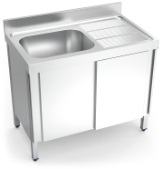 Stainless steel sink with sliding doors, 1 tank and right drain board