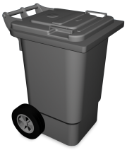 Plastic waste bin with lid and wheels 60 l.